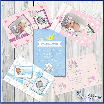 Personalised Birth Announcement Arrival Card New Girl Boy Baby Thank You Cards