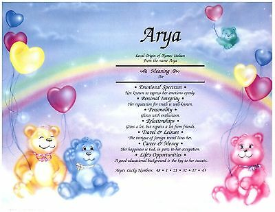 Personalized name meaning prints - Baby Boy Girl Teddy Bear