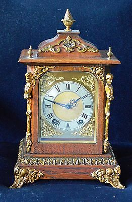 Antique Victorian Oak Bracket Clock Case with Gilt Ormolu Fittings