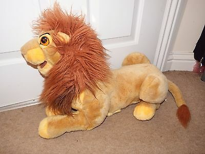 "26"" Disney Lion King Mufasa soft plush figure toy 2 handed puppet dad VINTAGE"