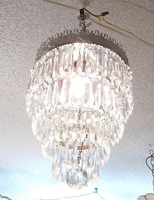"Magnificent ""Majestic"" Mid Century Chrome Crystal Prism Chandelier"