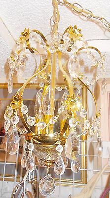 """Gorgeous Brass and Crystal [18 """" Tall] Swag or Hard Wired Chandelier"""