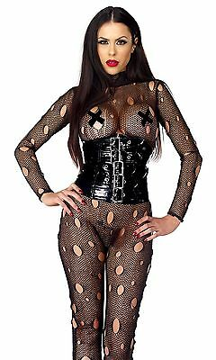 Sexy Tutina Nera Rete Buchi Maniche Fetish Punk Rock Distressed Catsuit Forplay