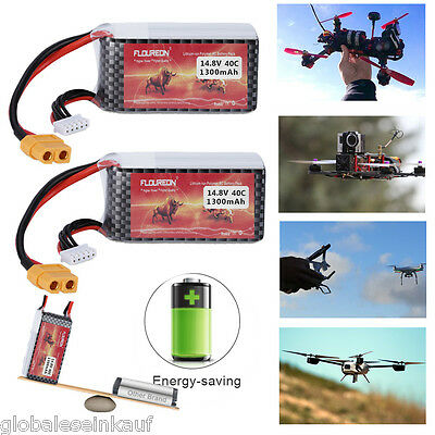 2X 4S 14.8V 40C 1300mAh LiPo Battery XT60 for RC Helicopter Airplane UAV Drone