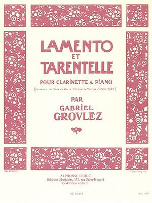 Gabriel Grovlez Lamento Et Tarentelle Classical Clarinet Songs Tunes MUSIC BOOK