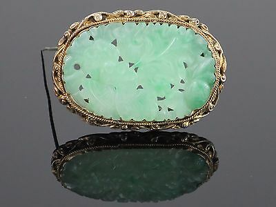Antique Chinese Carved Moss In Snow Natural Jadeite Jade Sterling Brooch, 12g