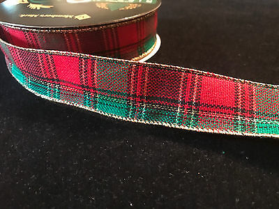 "Christmas Plaid Red Green  Wired Ribbon 1.5/"" Wide Wholesale Lot Bulk 50 Yards"