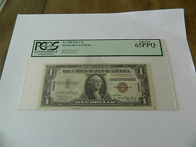 1935A $1 Hawaii Silver Certificate Pcgs 65Ppq Brown Seal Plate C5739/3497