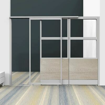 Room Divider with Sliding Glass Door, Modular Room Divider, Partition with Door