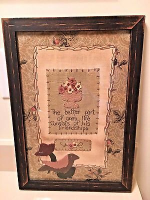 SAMPLER FRIENDSHIP VERSE Fannie Turgeon PRIMITIVE PA BIRD FLOWERS Black Frame