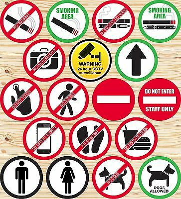 Warning Signs Stickers Self Adhesive Label✔Smoking✔Camera✔Hazard✔Caution✔CCTV