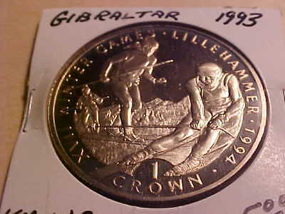 Gibraltar 1993 Crown, Winter Olympics Skiers. Proof