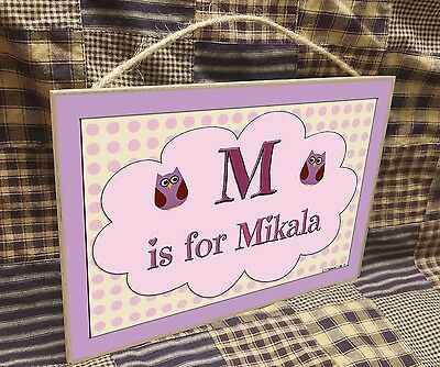 "Personalized Owls Name Kids Room Baby Nursery 7"" x 10.5"" SIGN Plaque"