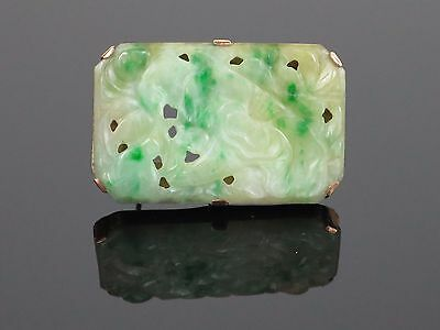 Antique Chinese Carved Moss In Snow Natural Jadeite Jade 9K Gold Brooch, 10.2g