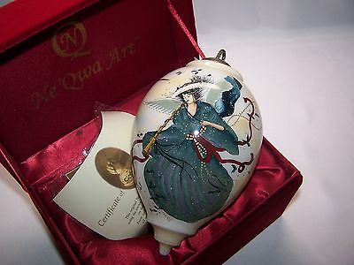 """Ne 'Qwa Reverse Painted """"Eternal Blue"""" Ornament by Peggy Abrams Angel w/ Horn"""