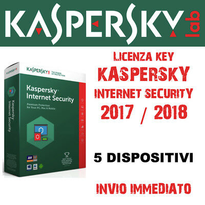 KASPERSKY INTERNET SECURITY 2017 per 5 PC Mac Android - licenza annuale (1 anno)