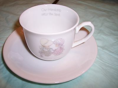 "Enesco Precious Moments  - Cup & Saucer ""Friendship Hits the Spot"" 1985"