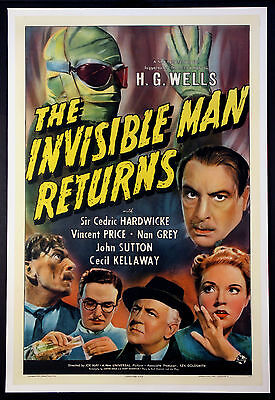 The Invisible Man Returns Universal Horror 1940 1-Sheet Linenbacked
