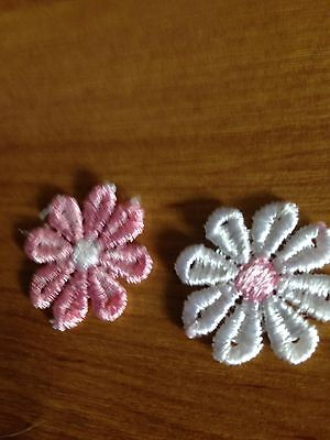 12X.25MM APROx cotton CROCHET  DAISY FOR 6 PINK/ WHITE 6 WHITE /PINK PRETTY