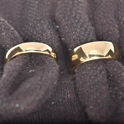 Gold IP Tungsten His & Hers Engagement Wedding Band Ring Sets High Polish Dome