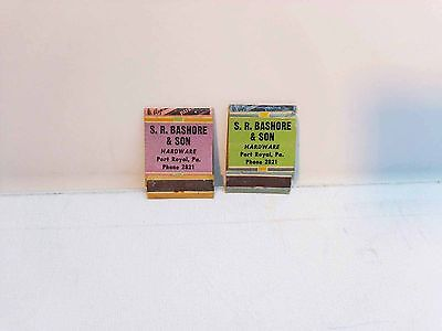 2 S. R. Bashore & Sone Hardware Port Royal Pa Matchbook covers