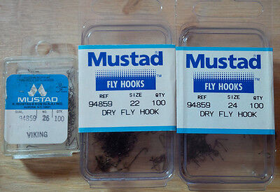 Mustad 94859, Dry Fly Hooks, Various Sizes and Quantities, From Norway