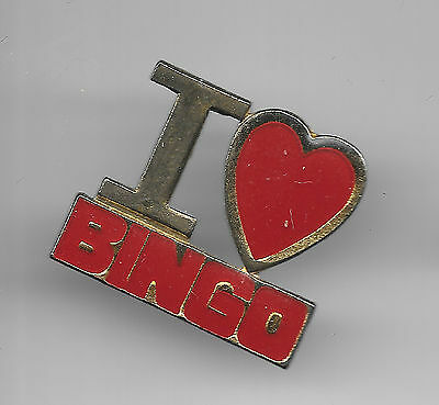 Vintage I Love (heart) Bingo old enamel pin