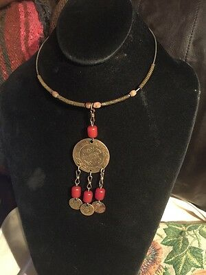 Antique Bronze Coins 19c. Ottoman And Old Amber Bedouin Necklace