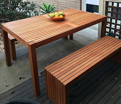 Bench and Table Outdoor Dining Set Timber Garden Patio Waterproof Furniture