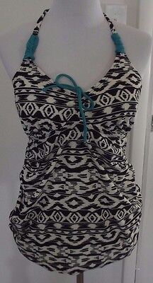Women's Motherhood Maternity Black White Teal Halter Tankini Swimsuit Top Medium