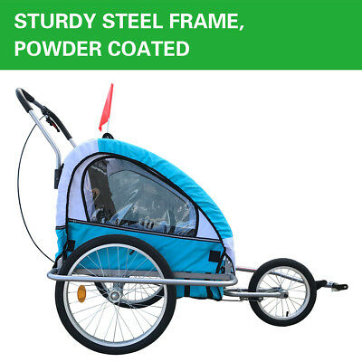 NEW Blue Red Kids Bike Trailer Bicycle 2 IN 1 Pram Stroller Children Jogger