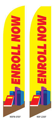 TWO Enroll now VBS Vocational Bible School 15 foot Swooper Feather Flag Sign