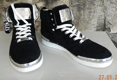 J75 by JUMP Fearless Black Faux Fur High Top Sneakers Size 12