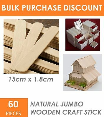 60x Jumbo Art Wooden Paddle Pop Craft Sticks 100% Natural Wood Kids Craft 15cm