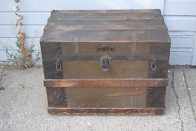 Antique Steamer Trunk Chest to use as Coffee Table - Charming