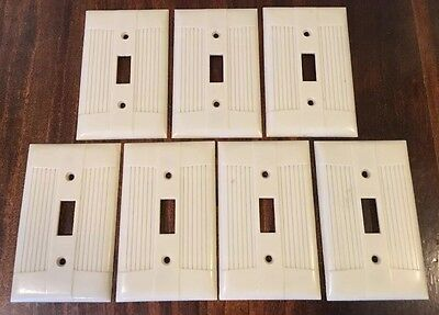 Mid Century BAKELITE Ivory Single Light Switch Cover Art Deco Vintage Lot Of 7