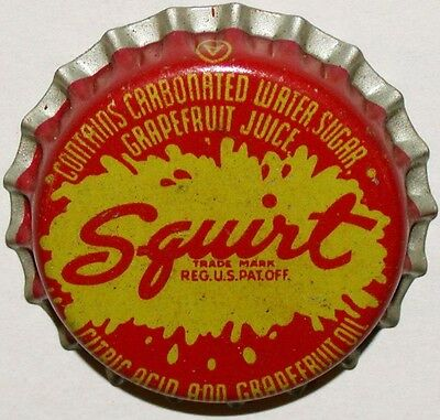 Vintage soda pop bottle cap SQUIRT red and yellow with splash logo cork lined