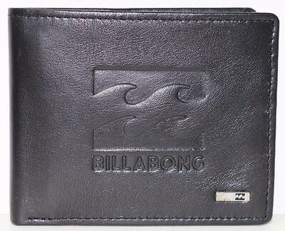 Men's Billabong Wave Black Leather Flip Wallet. RRP $49.99. NWOT.