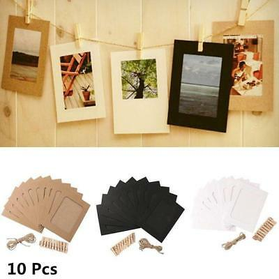 10Pc Paper Photo Wall Art Picture Polaroid DIY Hanging Album Frame + Rope Clips
