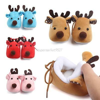 Kid Baby Winter Warm Christmas Crib Shoes Xmas Elk Deer Plush Fleece Shoes 0-12M