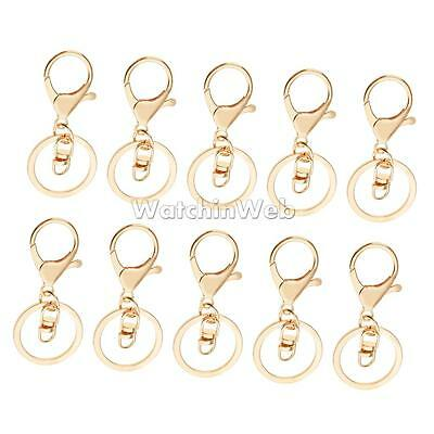 10x Metal Lanyard 8 Hook Swivel Snap Lobster Clasp Clips Findings Craft Gold
