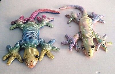 (2) RAINBOW CREATURES: SAND-FILLED ANIMALS - Lizards - 8.5""