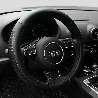 15'' PU Leather Car Truck Steering Wheel Cover Universal Fit Protection M Black