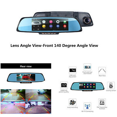 "6.86""  Touch Screen Car Camera DVR Recorder GPS Navigation Rearview Mirror Wifi"