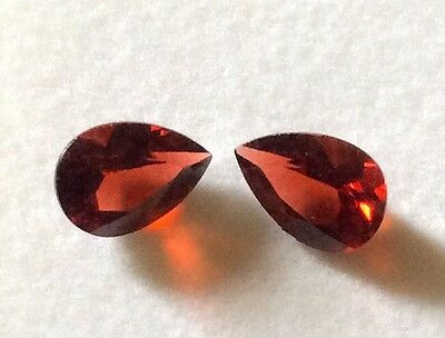 TEAR DROP SHAPE STUNNING NATURAL GARNET 2x 10MM X 7MM  LOOSE GEMSTONES