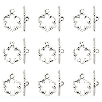 20 Sets Tibetan Flower Toggle Clasps Lead Free Antique Silver Plated 19x15x1.5mm