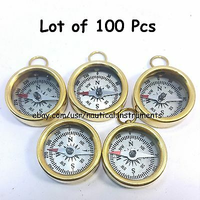 Lot  Of 100 Pcs Vintage Style Solid Brass  White Dial Pocket Compass