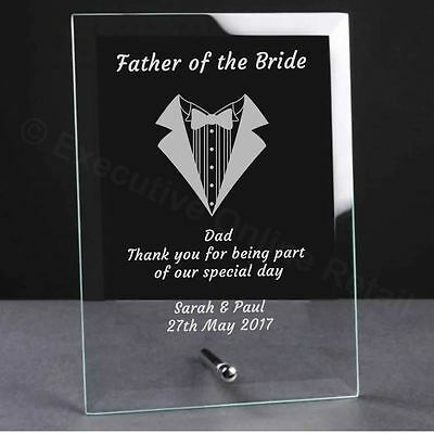Personalised Engraved Wedding Glass Plaque - Father of the Bride Gift
