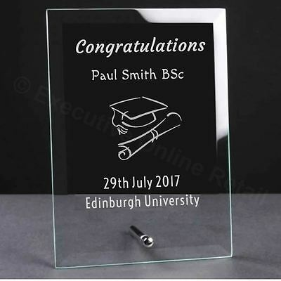 Personalised Graduation Gift Glass Plaque - Engraved Graduation Gifts
