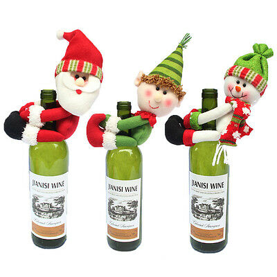 Santa Claus Decoration Wine Bottle Covers Christmas Party Dinner Table Decor